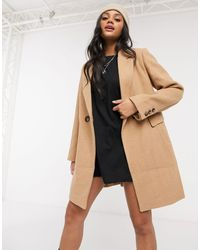 Stradivarius Double Breasted Tailored Coat - Brown