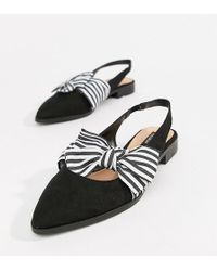 Pull&Bear Slingback Point Toe Shoe With Bow In Black