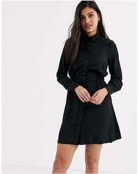 New Look Gather Waist Shirt Mini Dress - Black