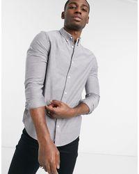 Burton Зауженная Оксфордская Рубашка Серого Цвета С Длинными Рукавами Из Органического Хлопка -серый