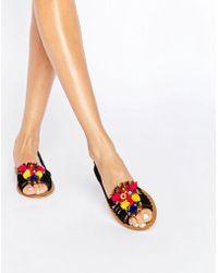 ASOS - Jeana Suede Pom Embellished Summer Shoes - Lyst