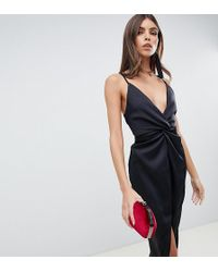 ASOS - Midi Strappy Cami With Knot Front Plunge In Satin - Lyst