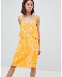 Ichi Floral Overlay Dress - Yellow