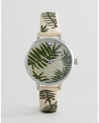 ASOS - Design Embroidered Palm Leaf Woven Watch - Lyst