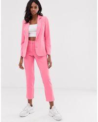 UNIQUE21 Tailored Cropped Cigarette Pants - Pink