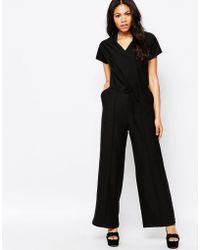 Daisy Street Jumpsuit With Tie Waist - Black