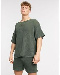 ASOS T-shirt oversize testurizzata color kaki - Verde