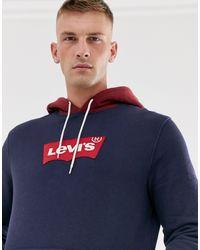 Levi's Modern Large Batwing Logo Contrast Hood Sweatshirt - Blue