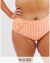 ModCloth Sissone Textured High Waist Bikini Bottom - Orange