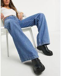Stradivarius – Jeans mit weitem Bein im Stil der 90er - Blau