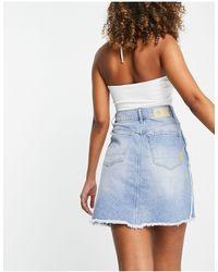 G-Star RAW 3301 Distressed Denim Skirt With Contrast Stitching - Blue