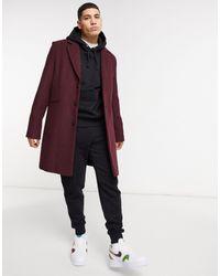 ASOS – Weinroter Mantel aus Wollmischung - Mehrfarbig
