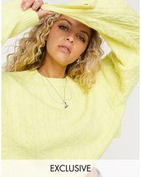 Reclaimed (vintage) – Inspired – Kastiger Pullover mit Zopfmuster in Gelb