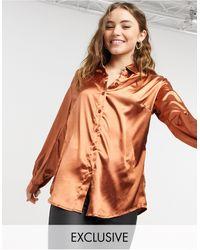 In The Style Exclusivité - chemise oversize en satin - rouille - Multicolore
