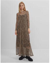 Bershka Сетчатое Ярусное Платье Макси Присборенной Юбкой И Леопардовым Принтом -многоцветный - Коричневый