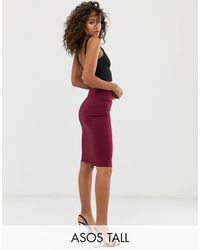ASOS Asos Design Tall High Waisted Pencil Skirt - Red