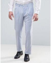 ASOS - Wedding Slim Suit Pant In Light Blue Crosshatch Texture - Lyst