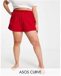 ASOS Asos Design Curve Mix & Match Jersey Pyjama Short - Red