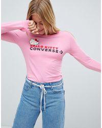 Converse X Hello Kitty Pink Longsleeve T-shirt Slim