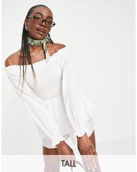Missguided Bardot Shirred Playsuit With Frill Detail - White