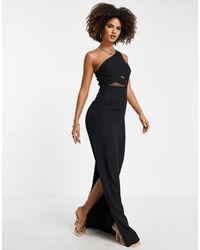 Trendyol Vestido largo con diseño asimétrico y detalle - Negro