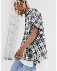 ASOS Oversized Cape Shirt In Black And White Check - Red