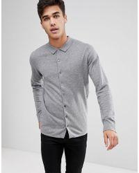 Mango - Man Cotton Knit Shirt In Grey - Lyst