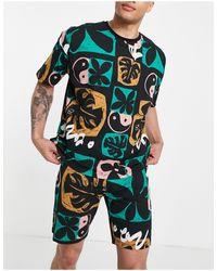 ASOS Lounge T-shirt And Short Pyjama Set With Print - Multicolour