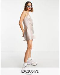 Collusion Bias Cut Seam Detail Satin Mini Slip Dress - Brown