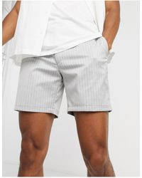 TOPMAN Pull On Shorts With Stripe - Grey