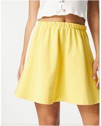 Reclaimed (vintage) Inspired Jersey Flippy Skirt - Yellow