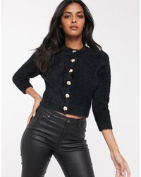 Fashion Union Fluffy Knit Cardigan With Shell Buttons - Black