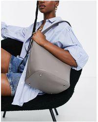 Reiss Hudson Leather Bucket Bag - Grey