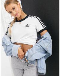 adidas Originals - Белая Футболка С Тремя Полосками Adicolor-белый - Lyst