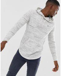 Hollister Icon Logo Hooded Long Sleeve Top Contrast Trim In White Marl