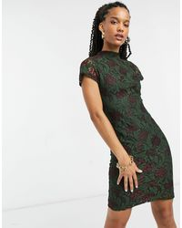 Girl In Mind Lace Detail Mini Dress In Green