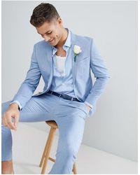 River Island Wedding Linen Suit Jacket - Blue