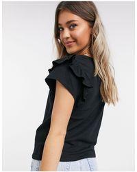 Mango Frill Sleeve T-shirt - Black