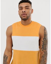 ASOS Relaxed Sleeveless T-shirt With Dropped Armhole With Contrast Body Panel In Yellow - Multicolor