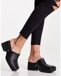 TOPSHOP Raven Leather Clog Mules - Black