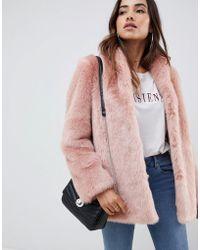 ASOS Stand Collar Faux Fur Coat - Pink