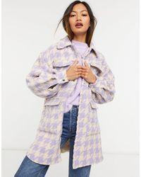 Y.A.S Куртка-рубашка В Стиле Oversized С Кнопками Спереди В Пастельную Сиреневую «гусиную Лапку» -сиреневый - Пурпурный