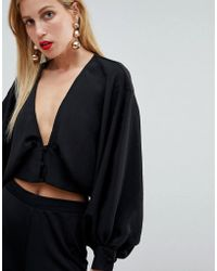 97f61dc1de45a9 Exclusive Basic Frill Edge Bardot Top In Black.  14. ASOS · ASOS - Long  Sleeve Batwing Plunge Top - Lyst