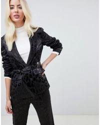 Fashion Union Satin Leopard Tie Front Blazer Two-piece - Black