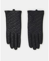 House of Holland Leather Gloves With Stitched Logo - Black