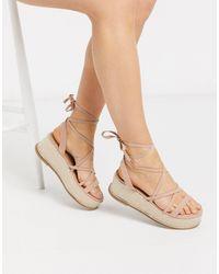 ASOS Tabby Flatform Tie Leg Sandals - Natural