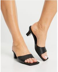 & Other Stories Leather Square Toe Mule Heels - Black