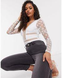Naanaa Mesh Polka Dot Plunge Bodysuit - White