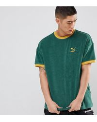 PUMA - Towelling T-shirt In Green Exclusive To Asos - Lyst