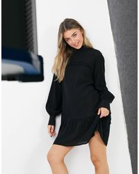 Lola May High-neck Dress With Drop Hem With Ruffle Detail - Black